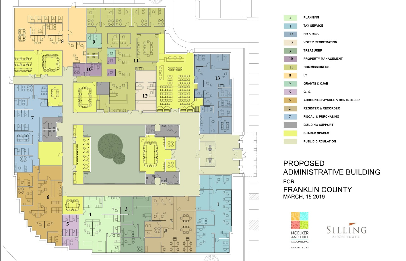 Floor plans for the future Franklin County Administration Building.