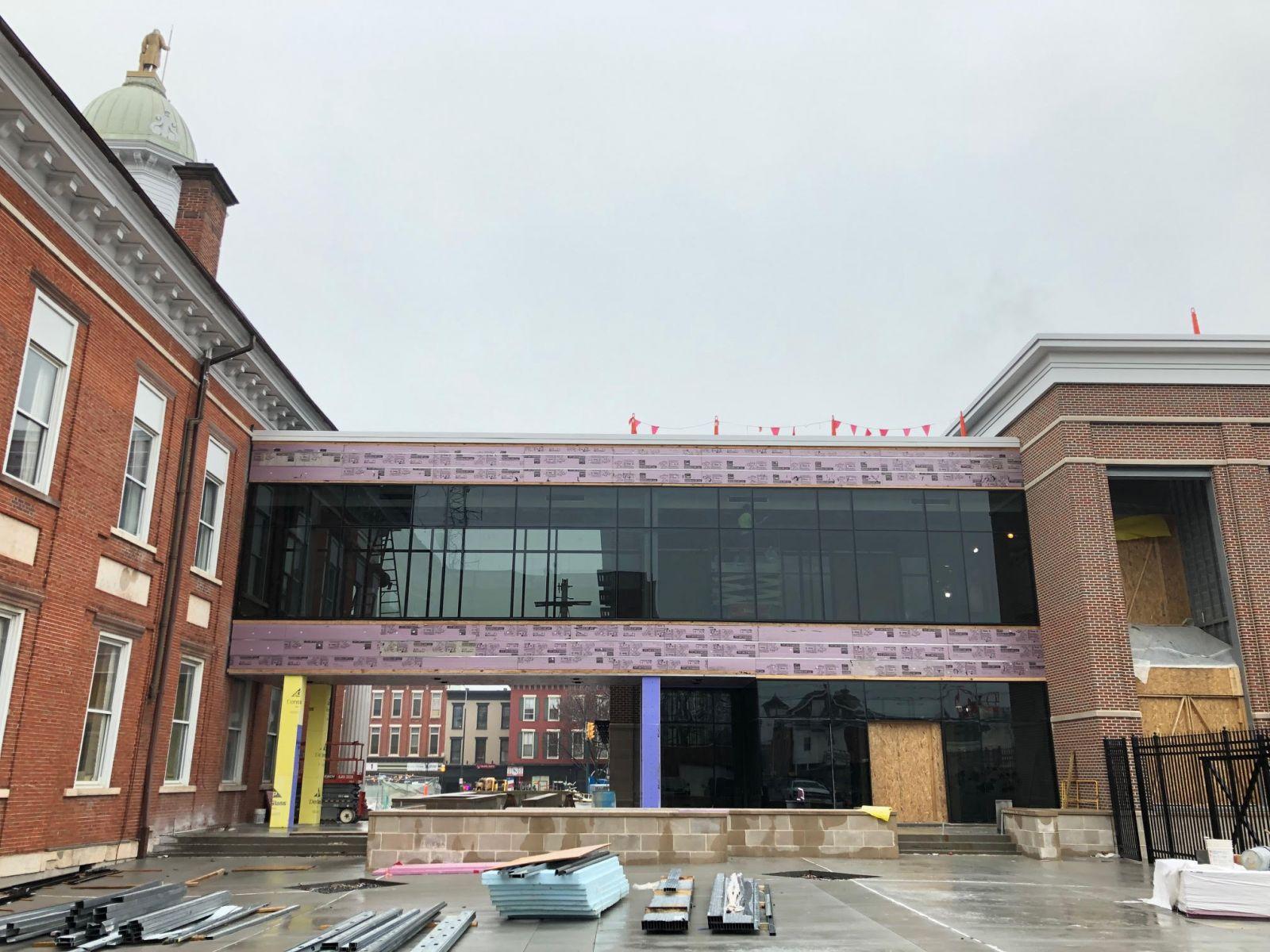 Judicial Center walkway, exterior, 1-26-2021