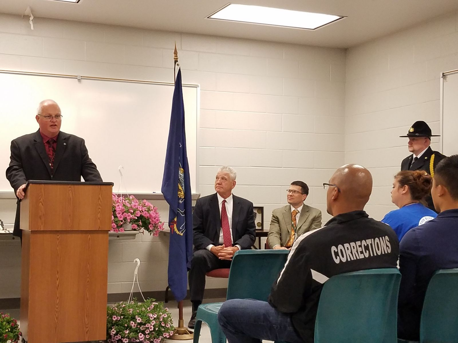Warden Bill Bechtold addresses Correction officers and employees at the Corrections Officers and Employees Apprecitation Week celebration and service.
