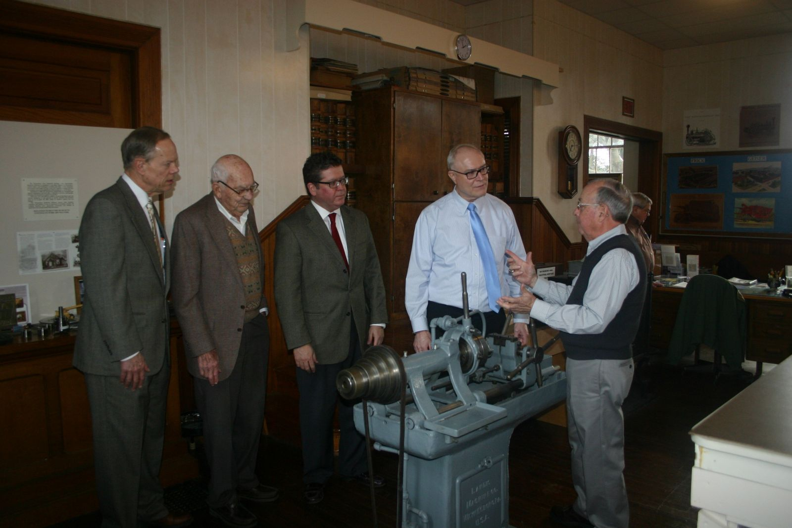 Franklin County Commissioners tour Waynesboro Industrial Museum, guided by George Buckey and Brian Shook.