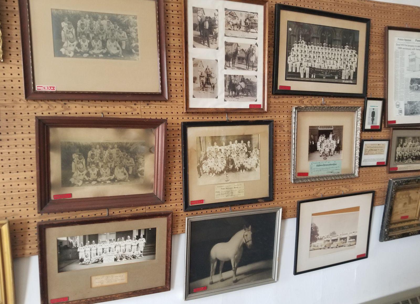 Photo display at the Chambersburg Volunteer Fireman�s Museum.