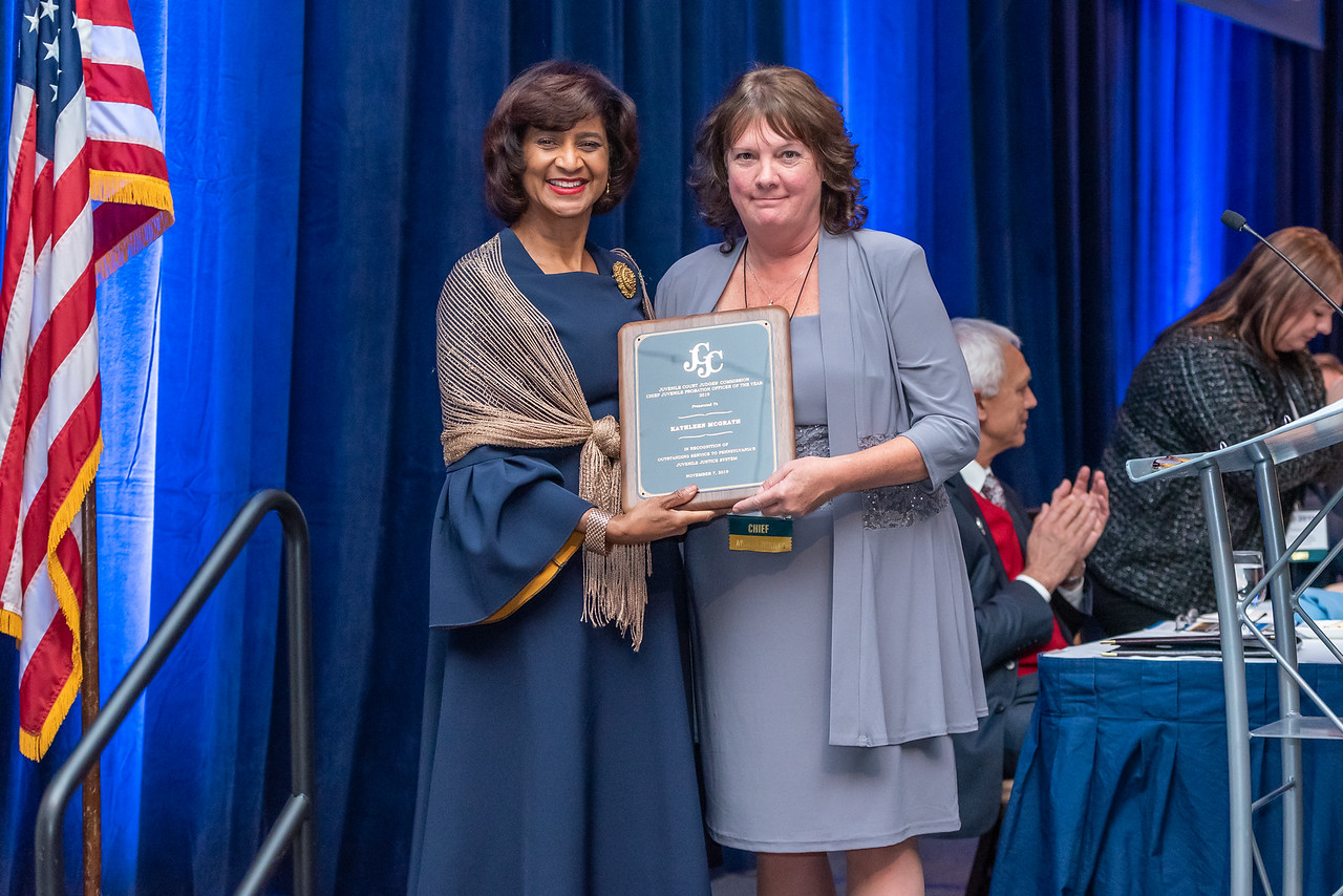 Pictured above: Pennsylvania Juvenile Court Judges' Commission Awards Committee Chair Teresa Wilcox and Franklin County Chief Juvenile Probation Officer Kathleen McGrath