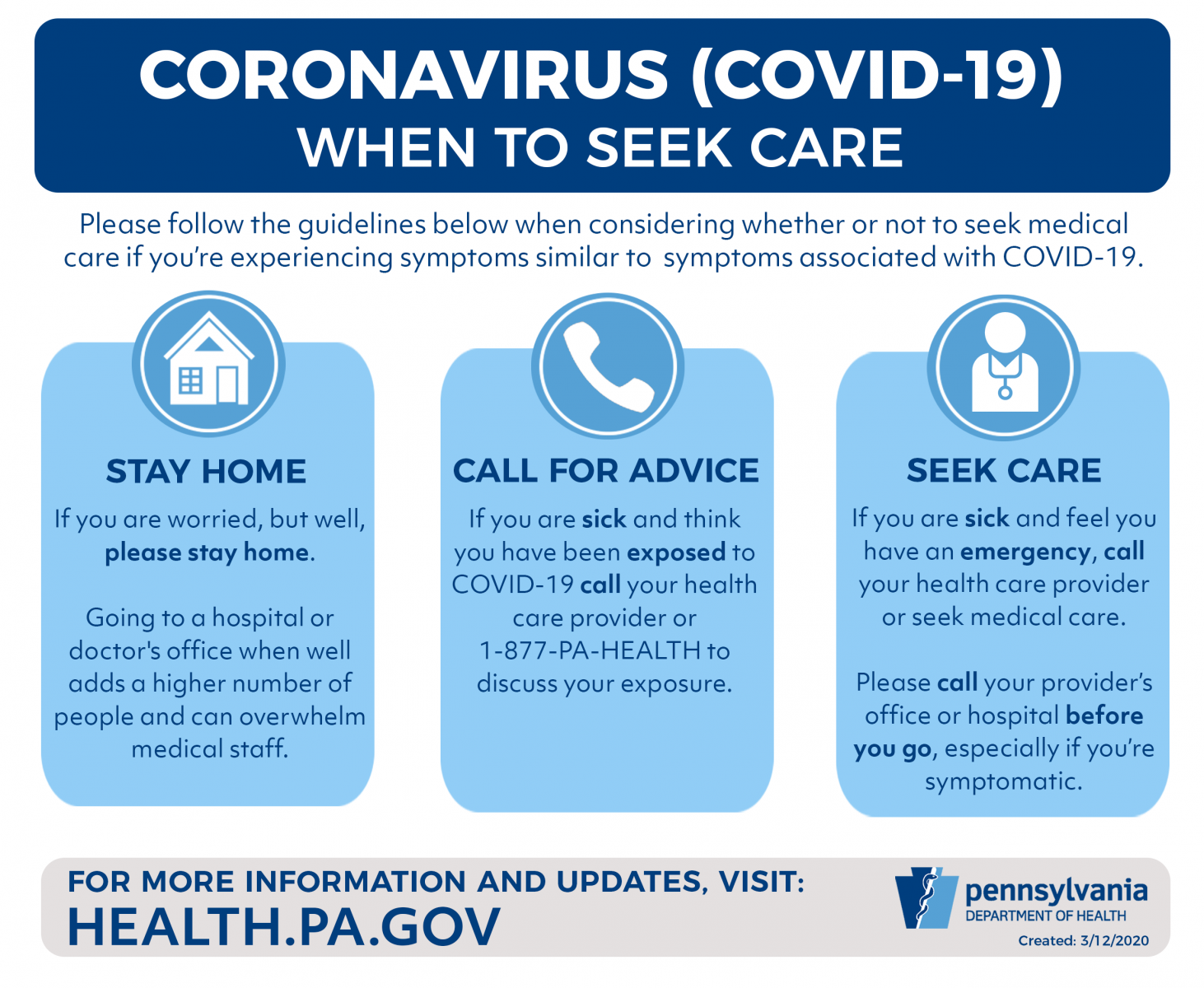 when to seek care infographic