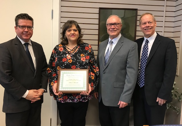 The Franklin County Commissioners on behalf of the STAR Committee (Special Thanks And Recognition) proudly present the Employee of the Month award to Ms. Stacie Horvath. Above image: Commissioner Chairman Dave Keller, Human Services Administrator Stacie Horvath, Commissioner Bob Thomas, and Commissioner Bob Ziobrowski