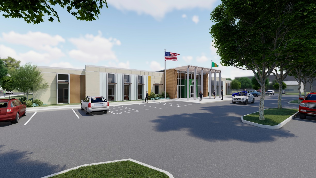 Artist�s rendering of the exterior of the future Franklin County Administration Building.