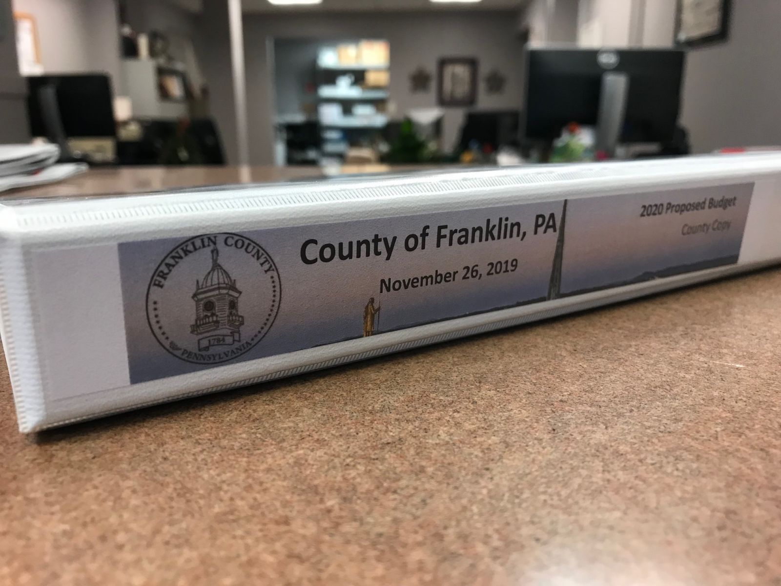 The �Counter Copy� of the 2020 Proposed Budget for Franklin County at the Commissioners� Office at 340 N. Second Street.