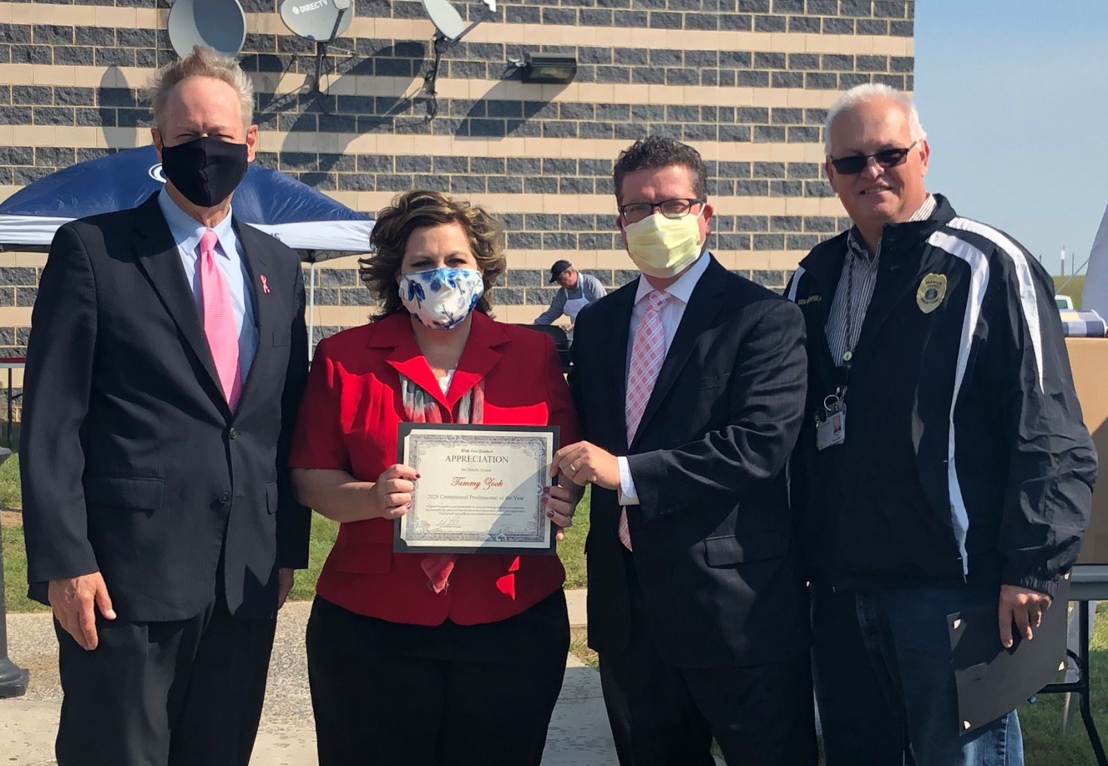 Above photo (left to right): Commissioner Bob Ziobrowski, Franklin County Jail Business Manager Tammy Zook, Commissioner Chairman Dave Keller, and Warden Bill Bechtold.