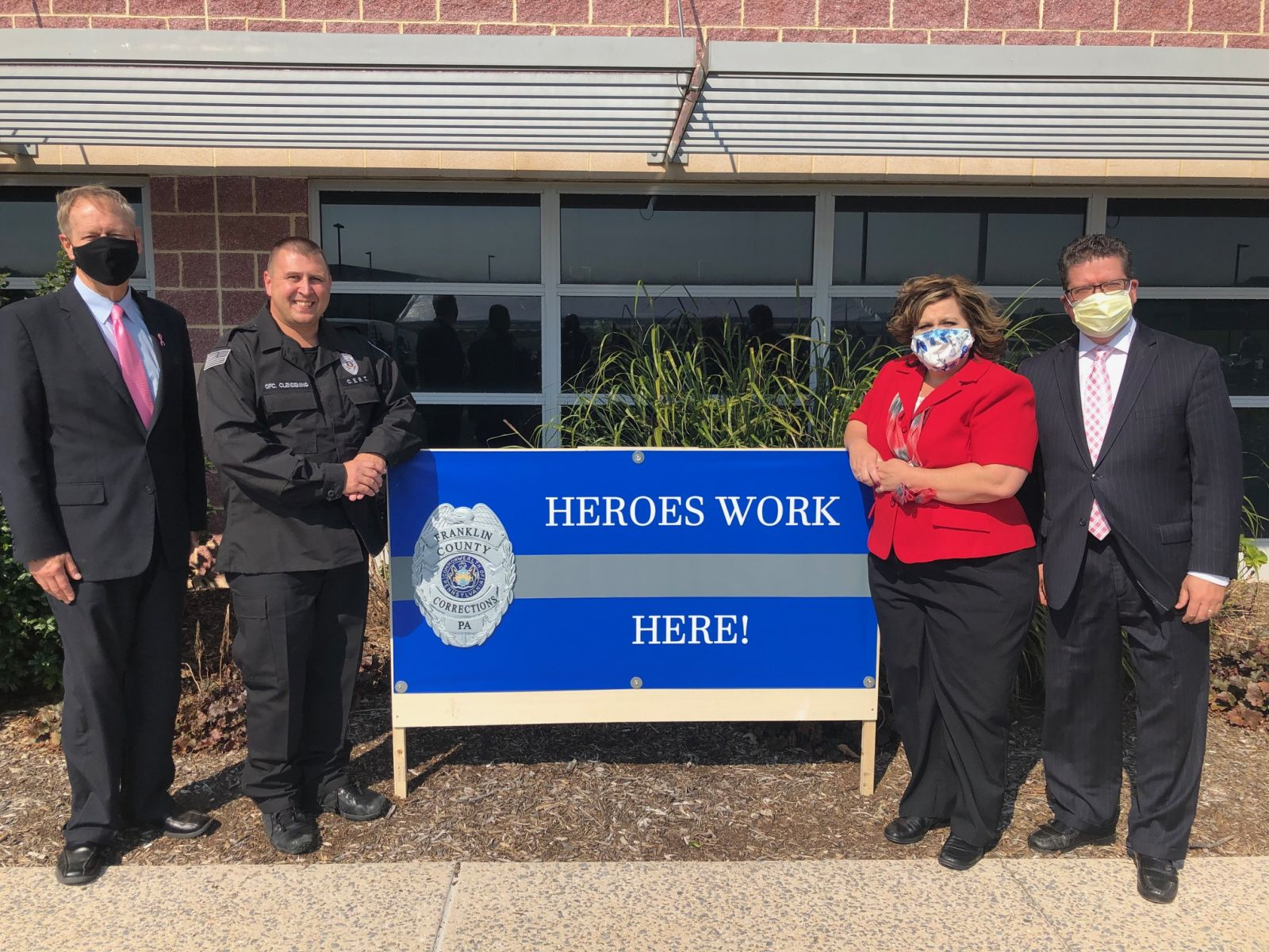 Commissioner Bob Ziobrowski, Correctional Officer Randy Clendening, Franklin County Jail Business Manager Tammy Zook, and Commissioner Chairman Dave Keller.
