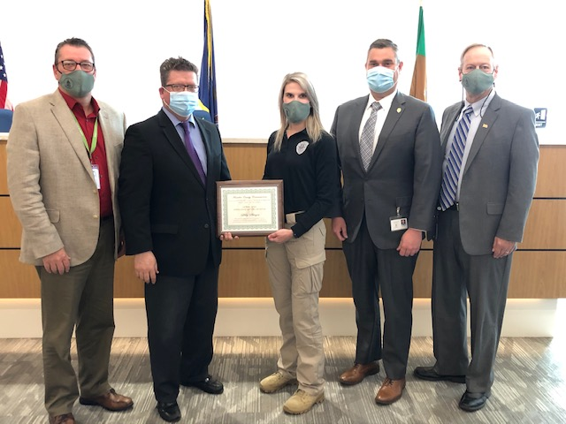 Pictured above: Commissioner John Flannery, Commissioner Chairman Dave Keller, Employee of the Month - Officer Libby Strayer, Chief of Adult Probation Doug Wilburne, and Commissioner Bob Ziobrowski