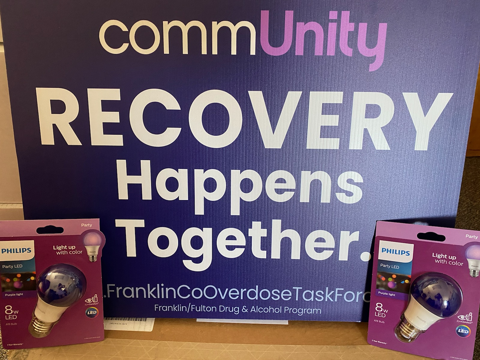 Show your support for those in recovery and display a purple light and sign in your yard this month!