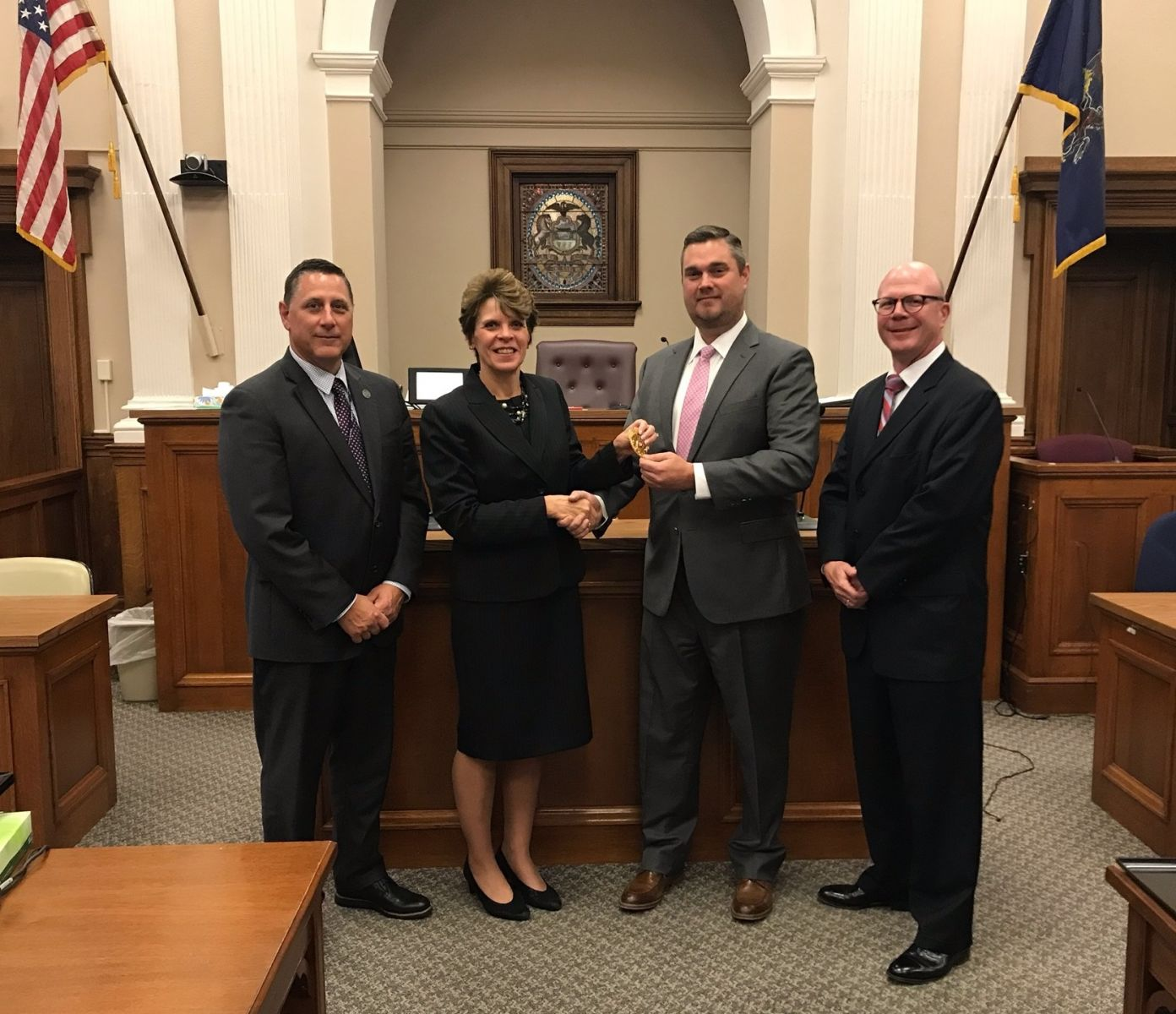 Above photo: (left to right)  Franklin County Court Administrator Mark Singer, President Judge Carol L. Van Horn, Chief Adult Probation Officer Douglas Wilburne, Judge Shawn D. Meyers