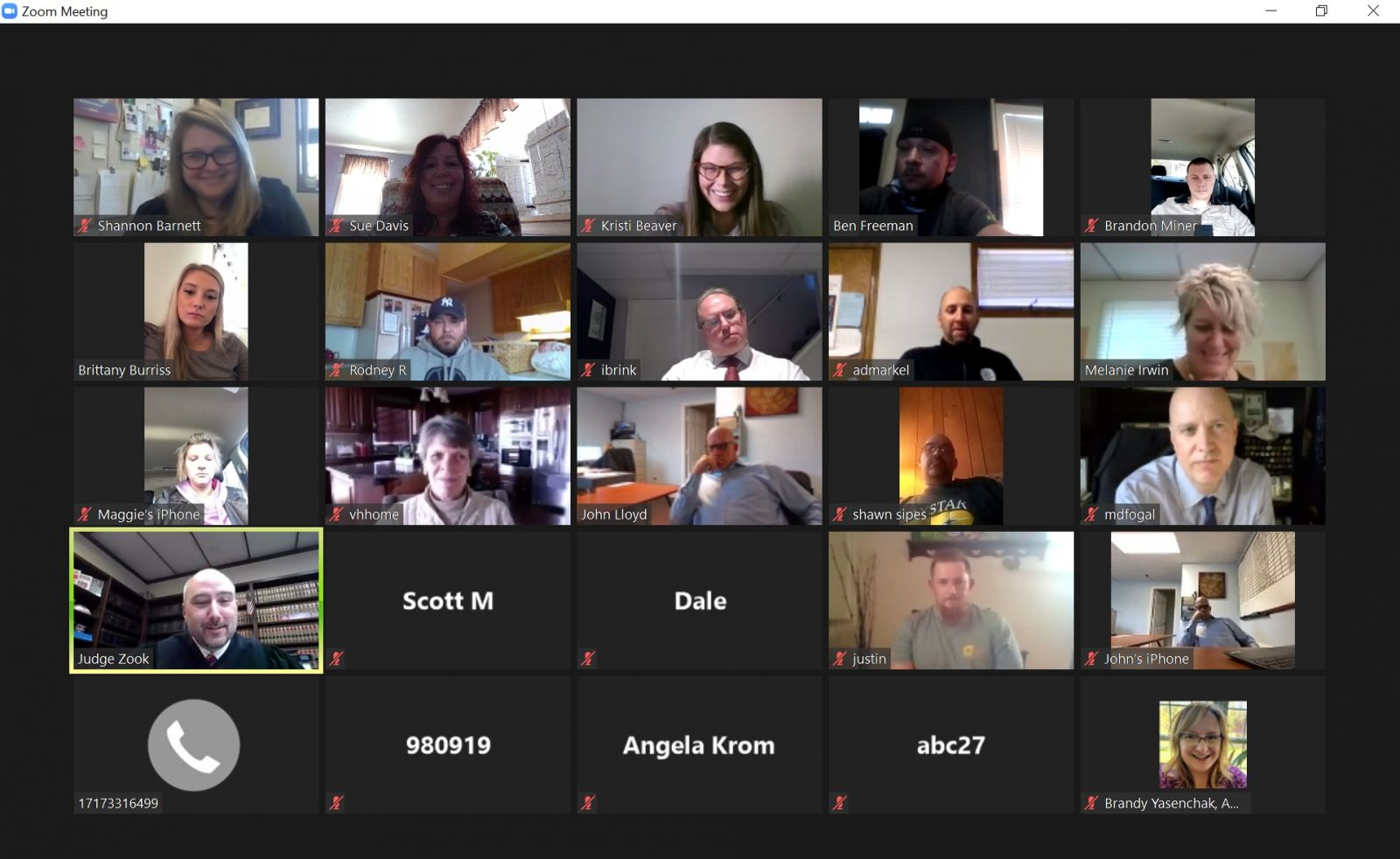 zoom meeting with profiles of 18 men and women
