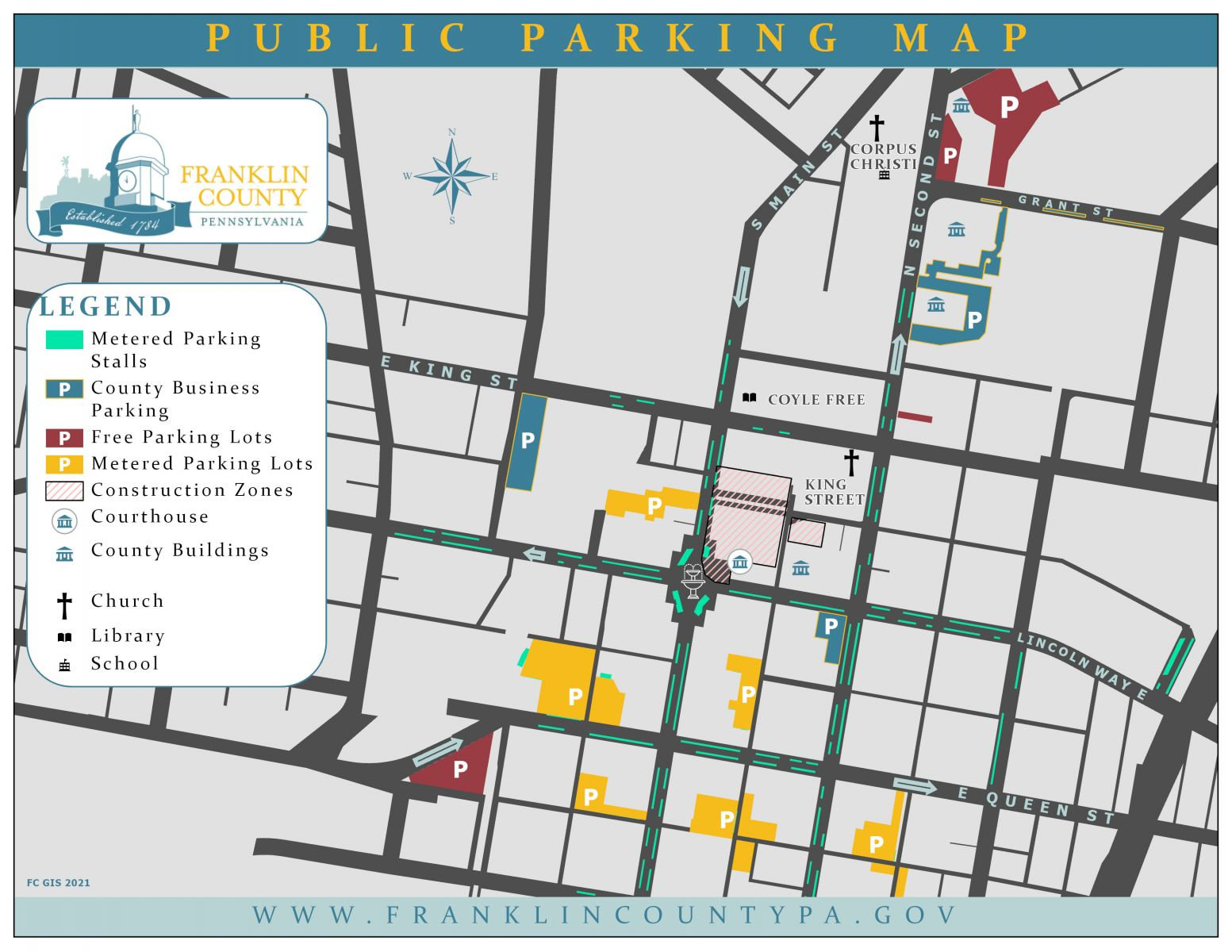 parking map with legend for visitors to county buildings