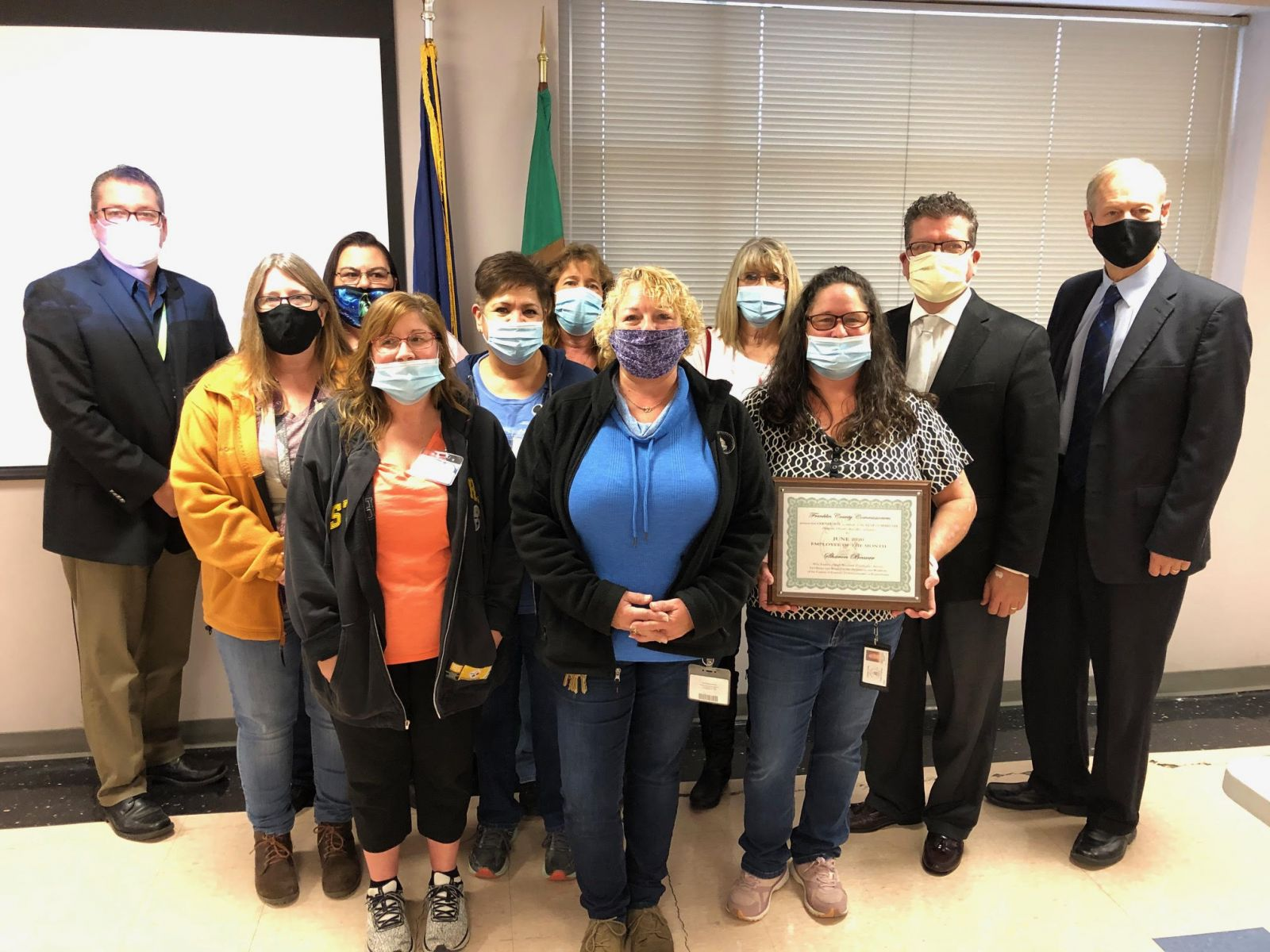 The Commissioners are pictured with the Custodial Services Team. Shown above (left to right)- Front Row: Stacey Jones, Heather Fleming, Director of Custodial Services Sharon Beaver; Second Row: Tammy Stitely, Rachel Fischer; Back Row: Commissioner John Flannery, Dawn Erdenbrack, Bethany Neuder, Linda Cook, Commissioner Chairman Dave Keller and Commissioner Bob Ziobrowski