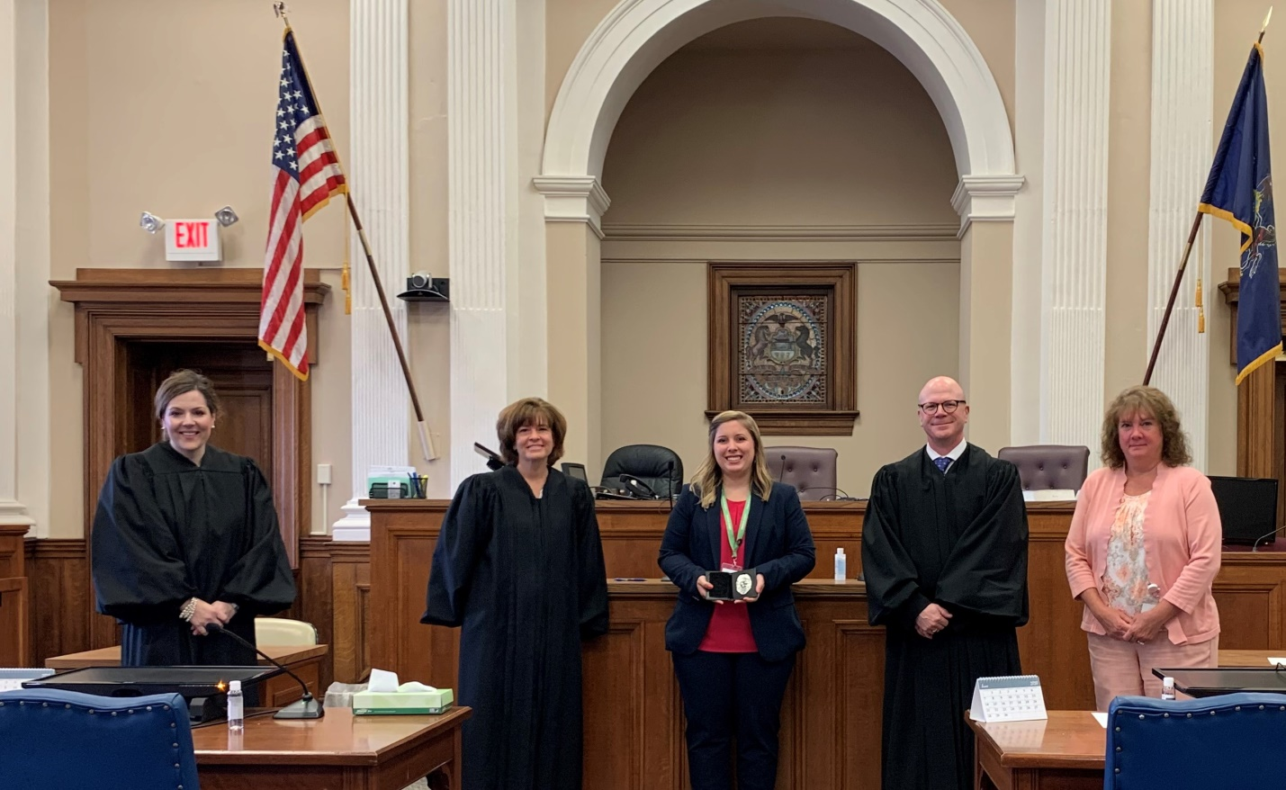 left to right: The Honorable Mary Beth Shank, The Honorable Angela R. Krom, Probation Officer Harley Payne,  President Judge Shawn D. Meyers, Kathleen A. McGrath, Chief Juvenile Probation Officer