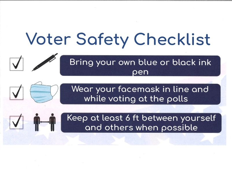 Voters Checklist: Bring a pen, Wear a mask, keep 6 feet apart