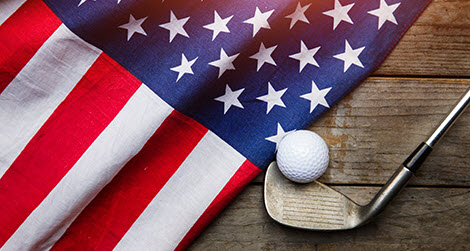 American Flag and Golf Club