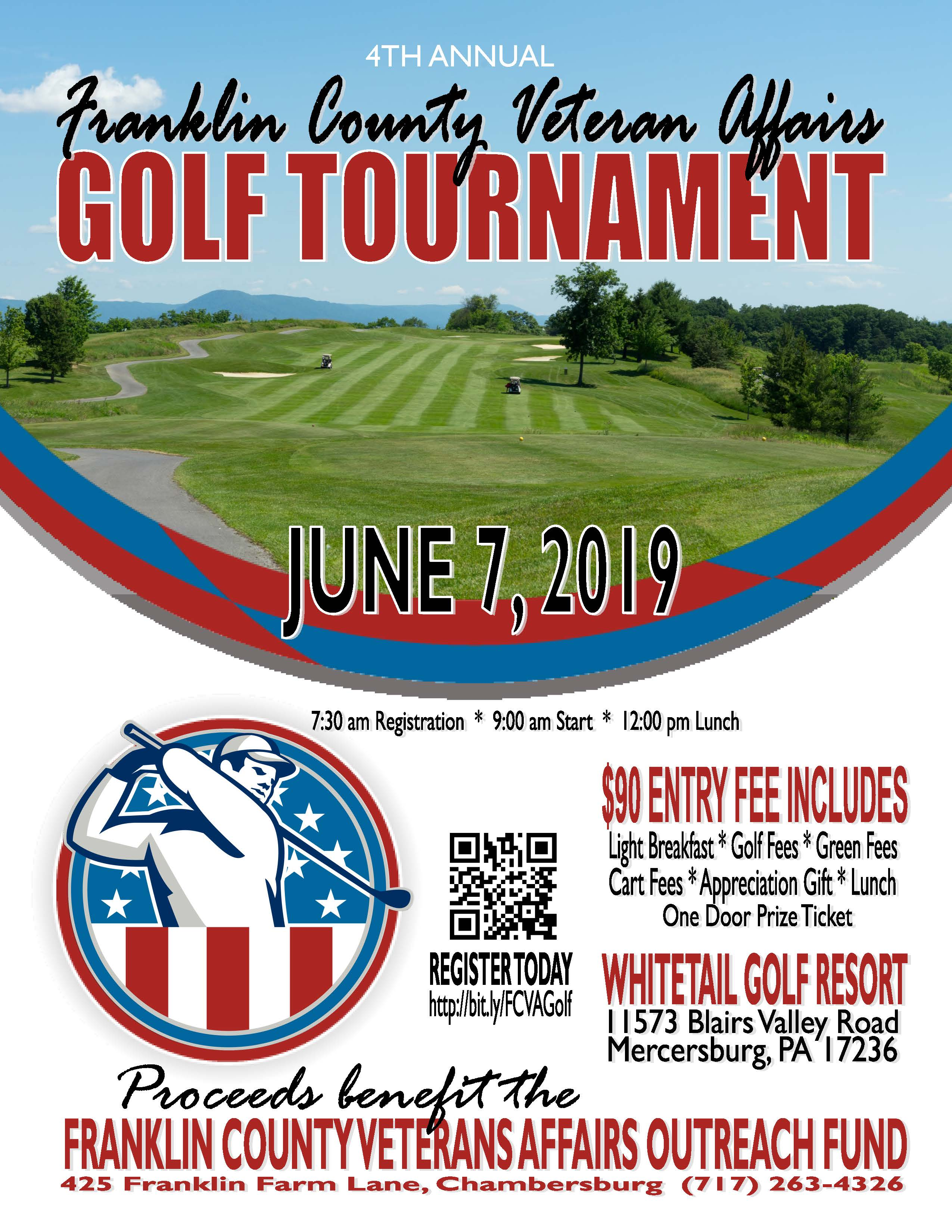 The 4th Annual Franklin County Veterans Affairs Golf Tournament will be held Friday, June 7th, 2019 at Whitetail Golf Resort.   7:30am - Registration  9:00am - Start  12:00pm - Lunch  $90 entry fee includes: light breakfast, golf/green/cart fees, apprecia