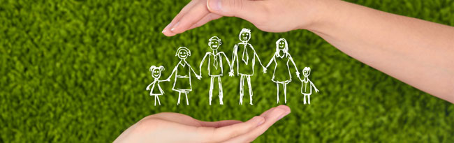 Hands around a drawn family